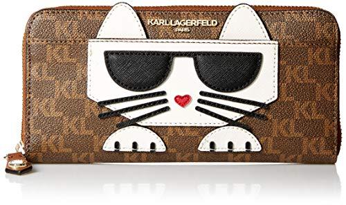 Karl Lagerfeld Paris Damen Peeking Kitty Wallet Geldbörse, Braun/Khk/Lug/Gold, Einheitsgröße