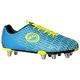 OPTIMUM Viper Senior, Chaussures de Rugby Homme, Bleu (Cyan/Yellow Cyan/Yellow), 43 EU