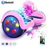 MARKBOARD Overboard 6.5 Pouces Bluetooth, Gyropode Hover Scooter Board avec Roues Flash LED, E-Scooter Auto-équilibrage Électrique Skateboard (Rose)