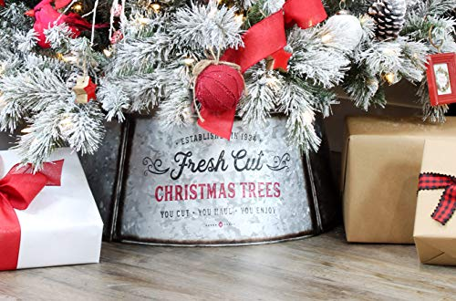 AuldHome Galvanized Metal Christmas Tree Collar, 29-Inch Diameter Base for Large Trees, 5-Panel Version