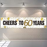 60th Birthday Party Banner Decoration Cheers to 60 Years Banner Sign Glitter White Happy 60th Birthday Background Prop Supplies for Men Women