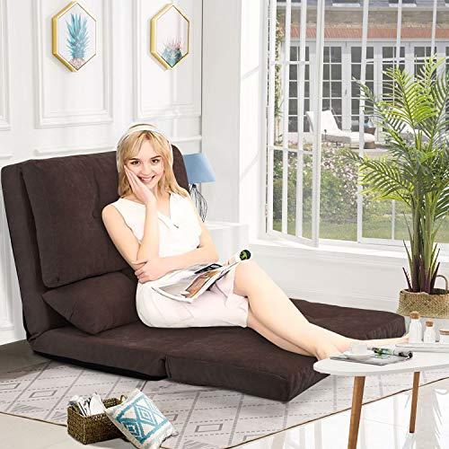 Floor Sofa Bed, Foldable Sleeper Futon Sofa, Adjustable Folding Sofa 5-Position Recliner with 2...