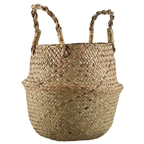 honghaier Seagrass Wickerwork Basket Rattan Foldable Hanging Flower Pot Planter Woven Dirty Laundry Hamper Storage Basket Home Decor Size