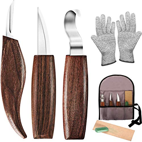 7-in-1 Wood Carving Tools for Beginners, Wood Carving Kit with Carving Hook Knife, Wood Whittling Knife, Chip Carving Knife, Gloves, Carving Knife Sharpener for Beginners Woodworking kit