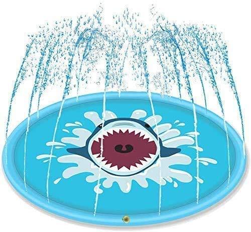 WJJH Tiburón de riego Alfombra de Juego Juguetes inflables del Agua del Patio Trasero al Aire Libre de Verano Divertido para los niños Niños Niños y Niñas,Azul