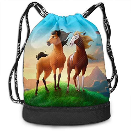 Spirit Stallion Of The Cimarron Drawstring Backpack Gym Sports String Bag For School Yoga Bundle Backpacks Traveling Drawsting Bag Boys Girls Backpacks Bags