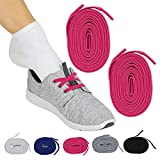 Vive No Tie Shoe Laces (Pink Pair) - Elastic Lace Ups - Flat Replacement Shoelaces for Men, Women, Sports, Running, Adults, Kids, Tennis, Disabled, Elderly, Dress Assist - One Size Long, Stretch Bands