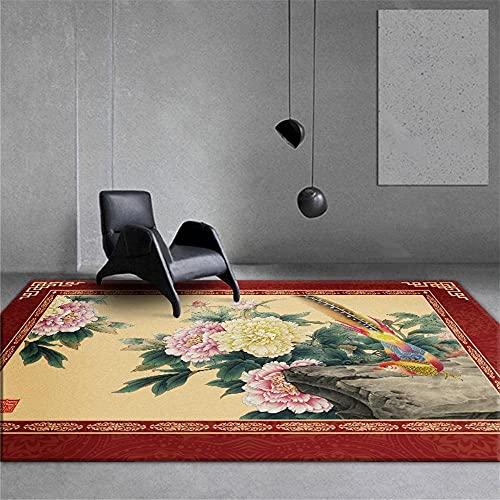 Kunsen alfombras Juveniles Alfombra Silla Ruedas Alfombra de Sala de Estar Estilo Chino Rectangular Rojo Beige decoración del Dormitorio alfombras de Gateo 50X80CM 1ft 7.7' X2ft 7.5'