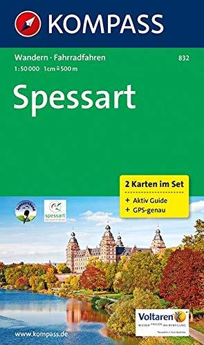 KOMPASS Wanderkarte Spessart: Wanderkarten-Set mit Radrouten und Aktiv Guide in der Schutzhülle. GPS-genau. 1:50000: 2-delige Wandelkaart 1:50 000 (KOMPASS-Wanderkarten, Band 832)