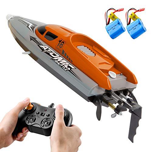 Goolsky Barco RC Control Remoto Barco 30KM / H IPV7 de Alta Velocidad Impermeable 2.4GHz Barco de Carreras de 4 Canales para Niños Adultos (Naranja, 2 Batería)
