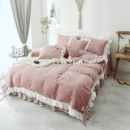 geek cook Flannel duvet cover,Winter plush bed sheet duvet cover coral fleece four-piece suede double-sided flannel princess style female winter-Shallow bean paste_2.2m (7 feet) bed