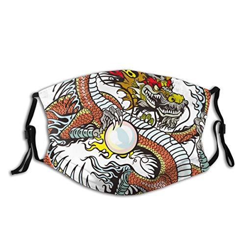 Copertura del fronte Drago, Creatura Cinese Tradizionale In Possesso Di Una Grande Perla Segni Zodiacali Folk Graphic Tattoo Filtro antirumore regolabile per bocca antipolvere