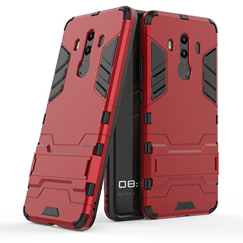 Huawei Mate 10 Pro Hülle, Huawei Mate 10 Pro Case, MHHQ Hybrid 2in1 TPU+PC Schutzhülle Rugged Armor Case Cover Dual Layer Bumper Backcover mit Ständer für Huawei Mate 10 Pro -Red