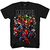 Marvel Avengers Guardians of The Galaxy Team Up All Time Men's Adult Graphic Tee T-Shirt (Black,Medium)