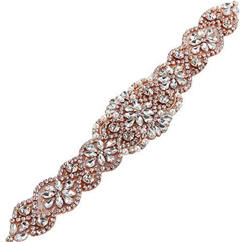 Rose Gold Wedding Applique, Rhinestone Belts for Women Crystal Bridal Sash Ribbon Applique Iron on Pearls Beaded Embellishments for Formal Dress