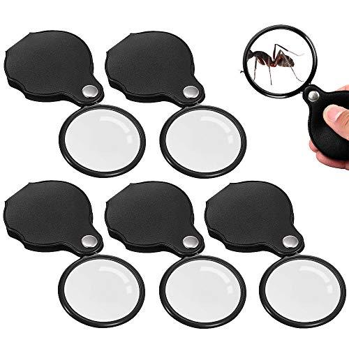 Rayong 5 piezas Mini Lupa de Bolsillo Lupa de Mano Portátil Con funda protectora Lupa con 10x de aumento para Pasatiempos de Lectura en la Oficina (50 mm Diámetro)