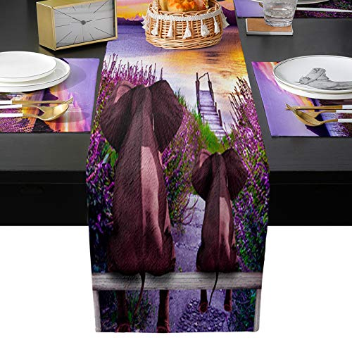 Table Runner Place Mats for Hot Plates Pots Dishes Table Flag for Dining/Dressing Table Wedding Dinner Parties,Elephants Watching Lavender Field Sunset 90''x13''+13''x19'' Set of 6 Placemats