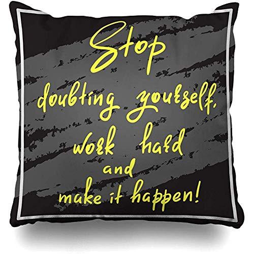 Kussensloop Optimisme Geloof Stop Twijfelen Zelf Werk Hard Maak Doe Bevestigende Gekleurde Grappige Label Quotes
