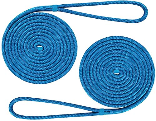 Amarine Made 2-Pack 3/8 Inch 20 FT Double Braid Nylon Dockline Dock Line Mooring Rope Double Braided Dock Line (Blue)