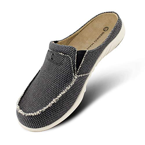 Mens Slippers with Arch Support, Canvas House Slipper for Men with Suede Insole and Velvet...