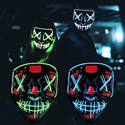 Cynamus Máscara LED Halloween, Mascaras Luces LED Neon Luminosas, LED Máscaras Carnaval, Máscaras Halloween de Terror, Máscaras de Terror, Craneo Esqueleto Mascaras, para Halloween (Azul + Verde)