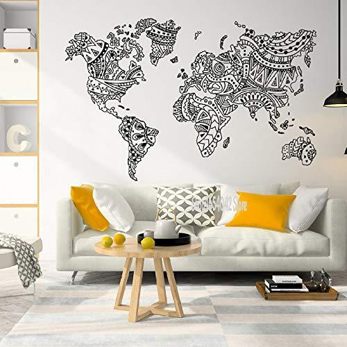 Mandala Great World Map Wandtattoo Home Schlafzimmer Wohnzimmer Dekoration Umriss Weltkarte Aufkleber 64 * 42cm