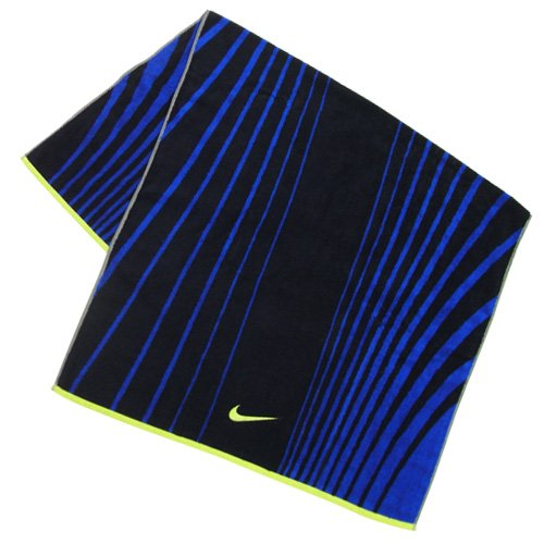 Nike Striped Jacquard Towel, Midnight Navy/Game Royal/Venom Green, L