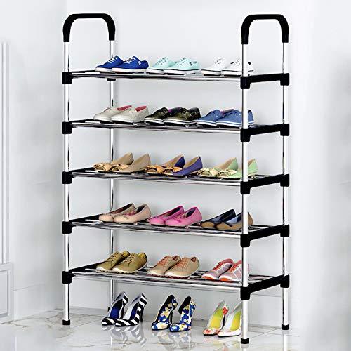 LJKD Zapatero Organizador de Almacenamiento de Zapatos de Metal Hode hasta 18-21 Pares de Zapatos, Negro,5 Floors