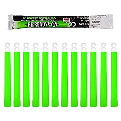 Be Ready Green Glow Sticks - Industrial Grade 12 hour Illumination Emergency Safety Chemical Light Glow Sticks (12 Pack Green) …