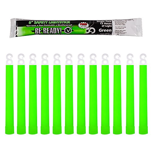 Be Ready - Industrial 12 hour Illumination Emergency Safety Chemical Light Glow Sticks (12 Pack Green)