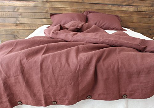 Brown Linen 100% Duvet Cover and Pillowcases - Coconut Buttons Closure - Twin Full Queen King Sizes