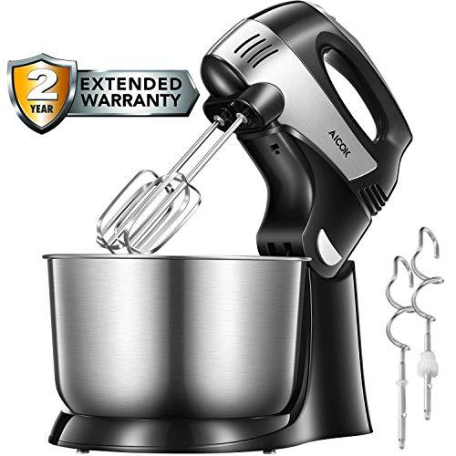 Handmixer 2-in-1 Abnehmbarer Küchenmaschine, 5+1-Gang-Handrührgerät mit Turbo und Easy-Eject-Taste, inklusive robuster Schläger, Teighaken und Edelstahl-Schüssel, 4L, Schwarz