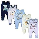 MEA BABY Unisex Baby Strampler mit Aufdruck aus 100% Baumwolle im 5er Pack. Baby Strampler für Mädchen Baby Strampler für Jungen (62, Jungen 2)