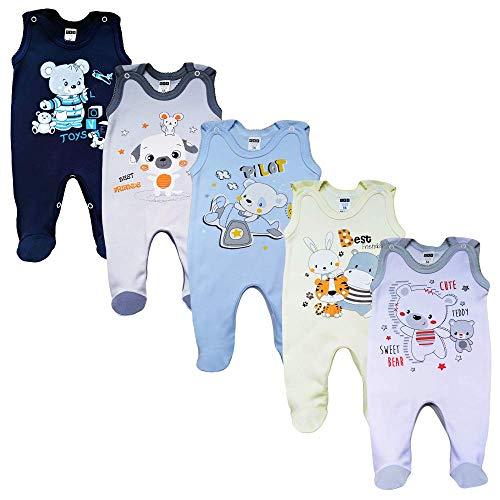 MEA BABY Unisex Baby Strampler mit Aufdruck aus 100% Baumwolle im 5er Pack. Baby Strampler für Mädchen Baby Strampler für Jungen (86, Jungen 2)