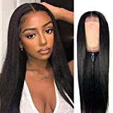 ISEE Hair 4x4 Lace Front Wigs Human Hair For Black Women Brazilian Straight Human Hair Lace Closure Wigs 180% Density Pre Plucked With Baby Hair Natural Color (24 Inch, Straight Human Hair Wigs)