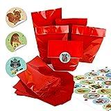 Advent-Kalender Bastel-Set: 24 x kleine ROTE Kraftpapier Papiertüten 14 x 22 x 5,6 cm + 24 runde Aufkleber 4 cm pastell bunt mit Winter-Tieren Weihnachtskalender-Zahlen von 1 bis 24 selber basteln