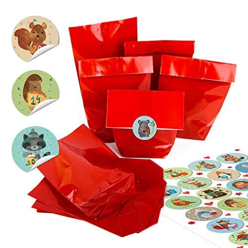 Adventskalender knutselset: kleine rode kraftpapier papieren zakken 14 x 22 x 5,6 cm + ronde stickers 4 cm pastel kleurrijk met winterdieren kerstkalender cijfers van 1 tot 24 zelf knutselen 24 Stück