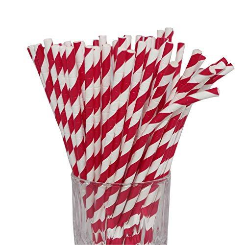 LUXENTU Strohhalme Trinkhalme aus Papier - 100, 300, 500 oder 1000 Stück - (100 Stück, Rot/Streifen/Knick)