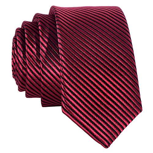 Corbata angosta de color rojo con tiras de color negro - hecho a mano