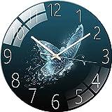 SWECOMZE Reloj de cristal – 30 cm – Reloj de pared silencioso – Cuadro de cristal templado para salón, cocina, oficina y dormitorio (estilo A)