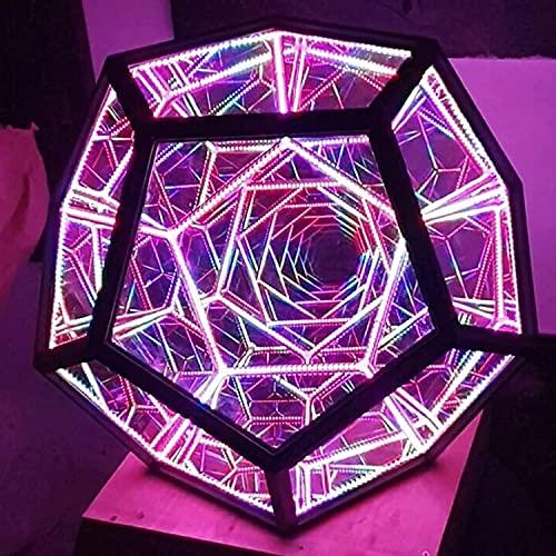 Infinity Dodecaedron Color Art Light - Creativo y fresco Infinito Dodecaedro Color, lámpara de mesa de fiesta de la atmósfera, lámpara de noche LED ajustable para decoración de muebles Lámpara de mesa