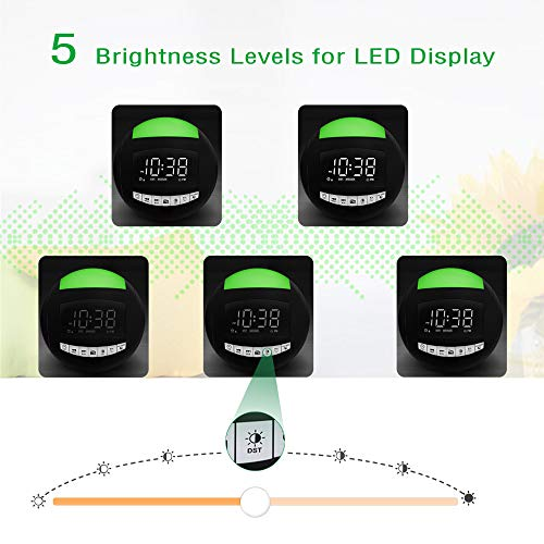 Alarm Clock Radio for Bedroom,7-Color Night Light Portable Radio,Battery Operated/Plug-in Digital LED Clock with FM Radio,Sleep Timer,3 Natural Ringers,2 USB Chargers,12/24H for Kid Teen,Heavy Sleeper