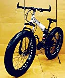 Unisex 4.00, Aluminum Black Solid Fat and Foldable with Dual Hydraulic Suspension, Dual Disc Brakes and 21 Derailleurs Sports MTB Cycle (Gears)
