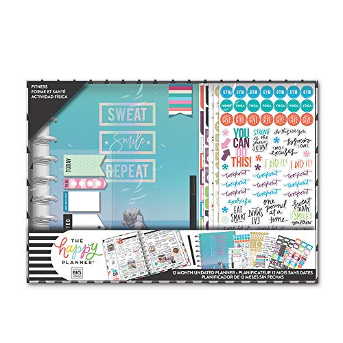 The Happy Planner Box Kit - Sweat Smile Repeat Theme - 12-Month Undated Discbound Planner with Vertical Layout - 5 Sheets of Stickers, 1 Pen, 1 Magnetic Bookmark, 4 Sticky Note Pads - Classic Size