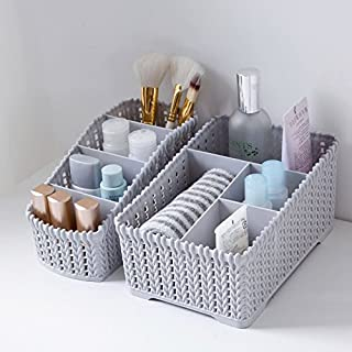 Diswa 2pcs Multi Grids Desktop Sundries Storage Basket Plastic Makeup Organizer Home Office Stationary Storage Container Box