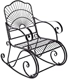 Lírica mecedora, silla de relajación, doblando las barandillas de hierro mecedora para adultos, individuales sillones de descanso, sillones al aire libre patio interior del parque patio trasero,Black