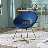 Roundhill Furniture Slatina Silky Velvet Upholstered Accent Chair with Gold Tone Finished Base, Blue