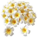 50個セット スポンジ プルメリア 造花 ハンドメイド ホワイト イエロー お花 DIY手作業 結婚式 パーティー用 飾り付け 5cm