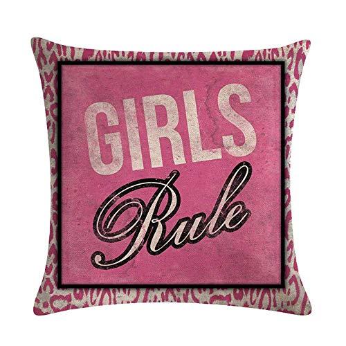 Funda de cojín Funda de Cojine Chicas Rule Pink Almohada para Cojín 45X45CM