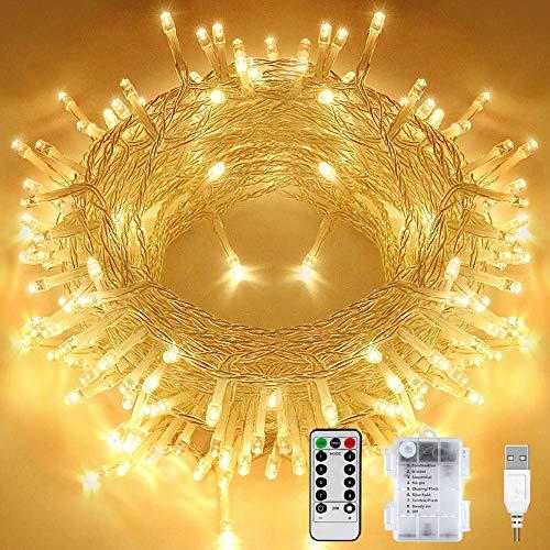 Ljusslingor batteri, 12 m 120 LED USB älva lampor med fjärrkontroll och timer 8 lägen dimbar batteridriven ljusslingor utomhus inomhus för rum julgransfest varm vit